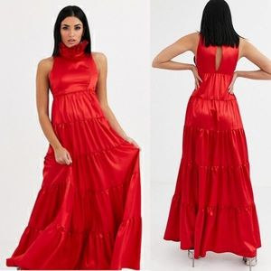 FLOUNCE London red satin maxi gown dress prom